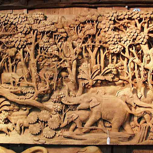 Oriental statues wood carving arts